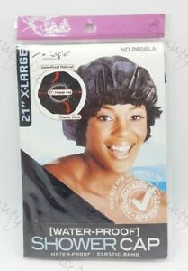 """Magic Collection  BLACK 21"""" Extra Large Water-Proof SHOWER CAP No 2160BLA"""