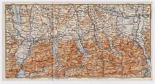 1910 ANTIQUE MAP OF BAYERN BAVARIA ROSENHEIM TEGERNSEE BAD TOELZ GERMANY