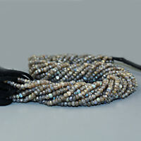 35.00 Cts /12 Inches Natural Drilled Blue Flash Labradorite Faceted Beads Strand