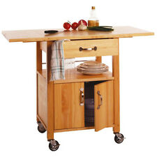 Rolling Kitchen Table Cart Storage Drawer Cabinet Island Room Portable Drop Leaf