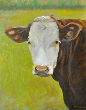 COW ART, HEREFORD COW ART PRINT, COW PORTRAIT, FARM ANIMAL ART by by P. Tarlow