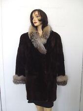 *~MINT BROWN SHEARED ARCTIC BEAVER & FOX FUR JACKET COAT WOMEN WOMAN SIZE 10