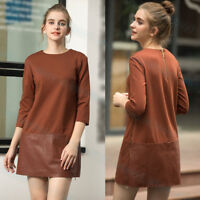 New Ted Baker OLYIE Leather Zip Detail Dress Brown
