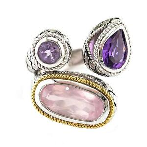 Andrea Candela 18k Gold Silver Pink Amethyst, Rose Quartz Ring ACR268-PAPWQ