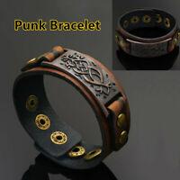 réglable brown wrap bangle boutons de bracelet bracelet en cuir petit bracelet
