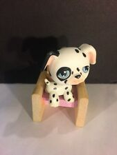 littlest pet shop LPS #27 Black & White Dog Girls Toys W Cute Wooden Chair YHB