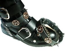Pair Steampunk Boot Strap Black Copper Biker Rock Gothic Chain buckle Accessory