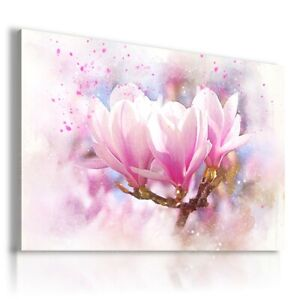 PAINTING FLOWERS WHITE PINK PRINT Canvas Wall Art R114 MATAGA UNFRAMED-ROLLED