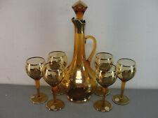 GOLD ROSE GILDED AMBER CZECH CRYSTAL ART GLASS DECANTER 🍷 RED WINE SET VINTAGE