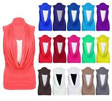 NEW WOMEN LADIES GATHERED SLEEVELESS  COWL NECK TOP LONG VEST TOP SIZE 8-26