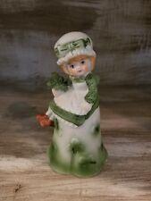 Vintage Porcelain Irish Bell Girl Sits On Top Clovers St Patrick's Day Shamrock