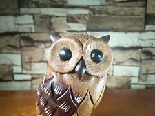 "WOODEN OWL THAILAND WOOD CARVED HANDMADE COLLECTIBLE GIFT HOME DECOR 7"" High"