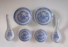 Chinese Blue & White Porcelain Dinner Set Side Plates Sauce Plates Spoons Pairs