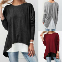 Women Long Sleeve Blouse Shirts Casual Patchwork Button Loose Tunic T Shirt Tops