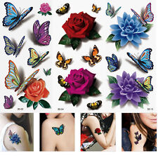 3-Sheet 3D Butterfly Flower Art Temporary Tattoos Sticker Waterproof Sticker