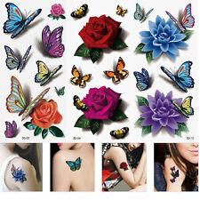 3 Sheet 3D Waterproof Temporary Tattoos Butterfly Flower Fake Tattoos Sticker