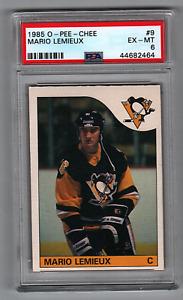 1985-86 O-PEE-CHEE #9 Mario Lemieux Penguins Rookie PSA 6 WOW!