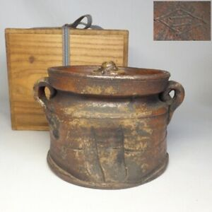 D0830: Real old Japanese BIZEN stoneware water jug with wonderful taste and work