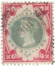 QV..  SG214... 1 SHILLINGS GREEN & CARMINE USED STAMP..