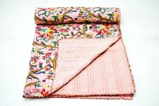 Vintage Floral Kantha Quilt Blanket Indian Bedspread Coverlet Throw Art