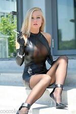 7816 Mini Vestido PVC Como Piel WetLooK Negro Escote Central forma de diamante
