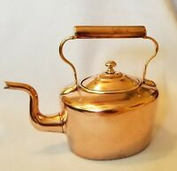 Antique Victorian Oval Copper Teakettle Brass Finial Mid 19th Century Dovetailed