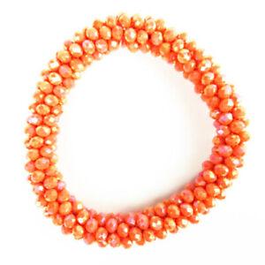 "Width:10mm Orange Titanium Crystal Rondelle Stretchy Bracelet 7.5 "" M56223"