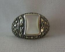BIG SIGNED STERLING SILVER RING W/ MOTHER OF PEARL & MARCASITE DOME - SIZE 6.5
