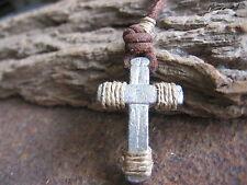 Herren Kette Kreuz braun neu Kreuzkette Vintage Halskette Lederkette Herrenkette