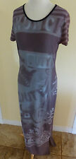 COP. COPINE SLINKY CAP WIGGLE MAXI DRESS w/ SUBTLE COLORS & LOGO PRINT EUC F40/S