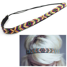 Colorful Ethnic Seed Bead Headband Elastic Hair Band Hair Accessaries Useful