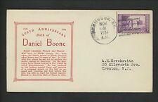 US Postal History States Daniel Boone Birth Anniversary 1934 Redhouse KY DPO