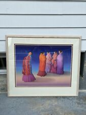 "R.C Gorman ""Nightwatch"" Pencil Signed Original Lithograph Print 1992 Framed 48"""