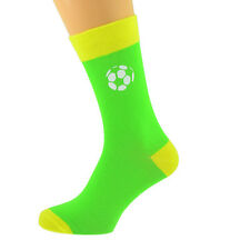 Verde lima y amarillo Calcetines Unisex Diseño de fútbol UK Size 5-12 X6N600