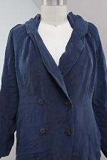 Womens Vtg 90s Sz L Silk Blazer Loose Oversize Boxy Button Shoulder Pads Large