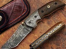 Custom Made Wood Handle Tanto Blade Damascus Steel Folding Pocket Knife W/Case