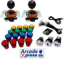 Kit Arcade Sanwa Joysticks negros 16 botones iluminados LED + Usb encoder Bartop