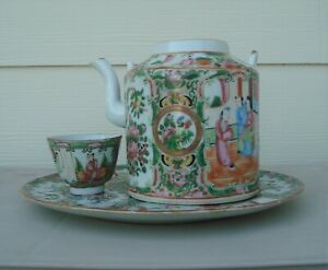 Antique Chinese Export Porcelain Teapot Tea Cup on Tea Tray Circa 19th Century