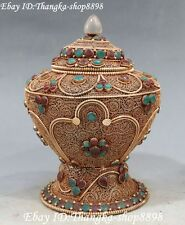 19CM Tibet Silver Filigree Inlay Gem Buddhism Temple Incense Burner Censer Pot
