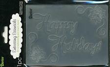 RETIRED   4.5 x 5.75 Inch Darice Embossing Folder HAPPY HOLIDAYS B28*