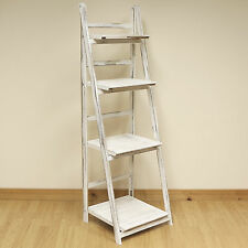 4 Tier White Wash Ladder Shelf Display Unit Free Standing/Folding Book Shelves