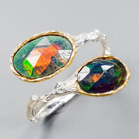 Black Opal Ring Silver 925 Sterling Handmade Fine art Size 8 /R147732