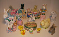 Vintage Lot of 20 Easter Decorations Rabbits Bunnies Chicks Ceramics Wood