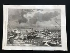 1862 Newspaper Print, Breaking the Ice at New York, View From East River - A3BK5
