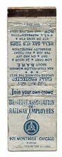 Vintage Benefit Association of Railway Employees Matchbook Cover