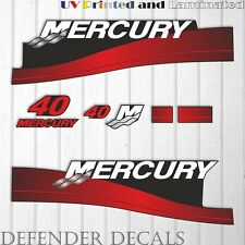 Mercury 40 HP Two Stroke outboard engine decal sticker RED kit reproduction 40HP