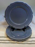 4 Williams Sonoma Baroque Blue Salad Plates Stoneware