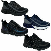 Boys Bubble Trainers Kids Joggers Lace Up Shoes Mesh Sneakers Sports New Fashion