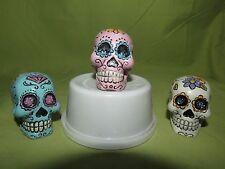 Day of Dead Sugar Skulls Set of 3.Penn Plax Aquarium, Bowl, Collectible Ornam.
