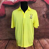 Adidas Mens Climalite Yellow Striped Polo Shirt Size Medium Gambler Ridge Golf